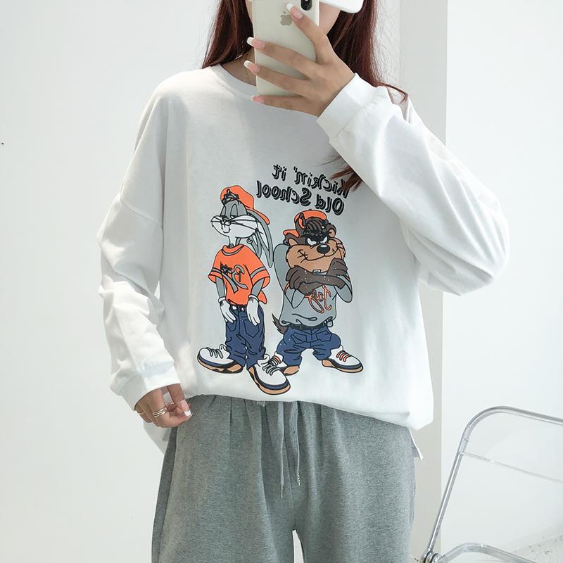 【茶茶家】2020新款秋季长袖T恤女圆领宽松卡通印花灰色薄款卫衣