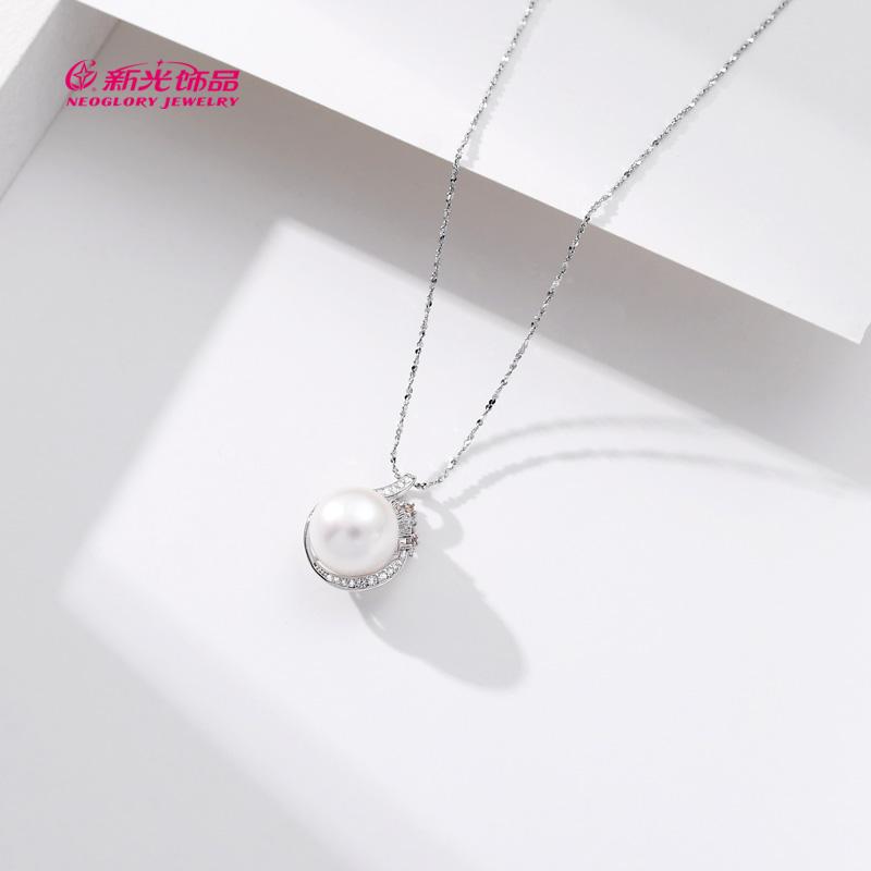 新光饰品S925纯银淡水珍珠项链锁骨链女气质高级感冷淡风送女友