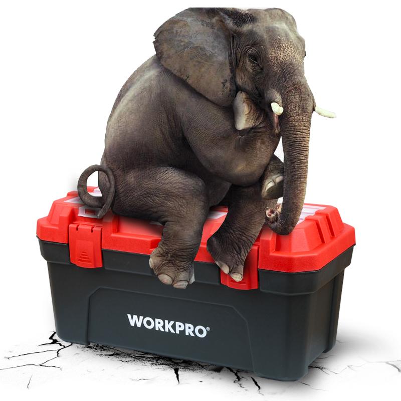 万克宝五金家用塑料工具箱大小中号手提式电工多功能维修收纳箱盒