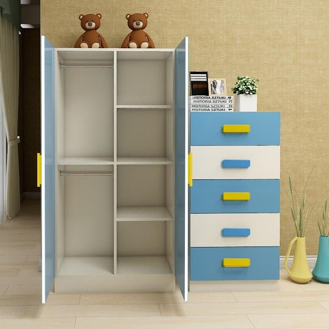 儿童衣柜收纳柜现代简约经济型卡通组合女孩抽屉式五层宝宝实木质