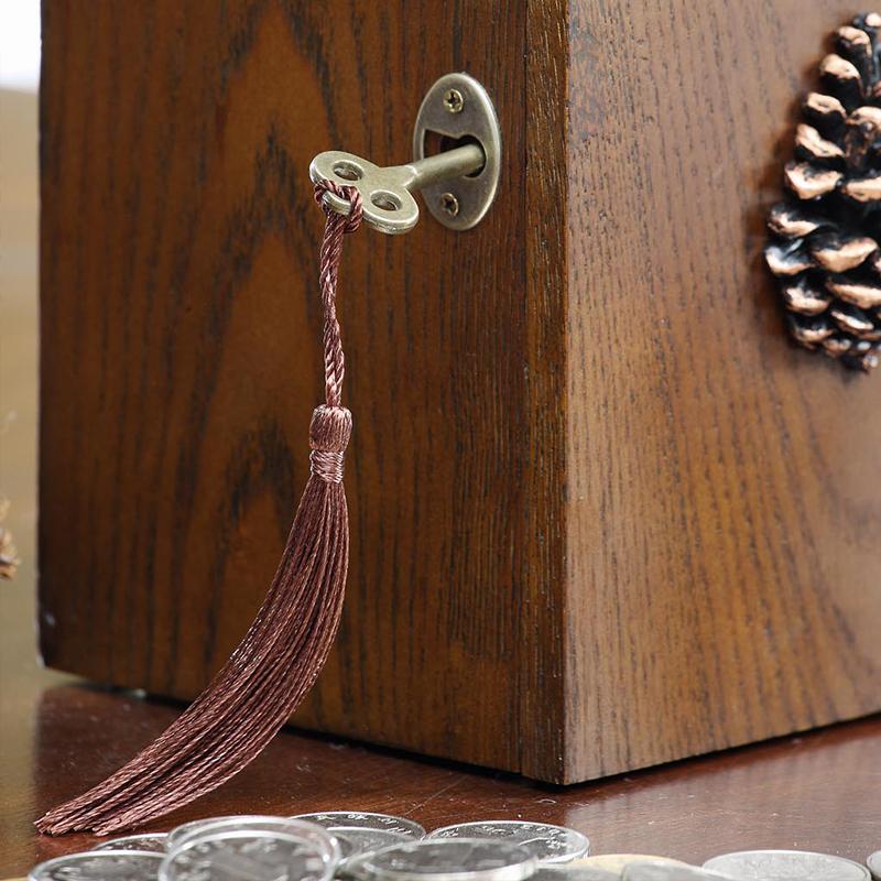 创意礼品美式实木桌面硬钱存钱筒纸钱存钱罐带锁大号收纳盒礼品