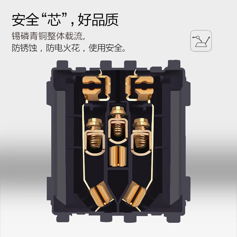 86型暗装电话电脑插座家用电话网线二合一墙壁开关插座面板香槟金