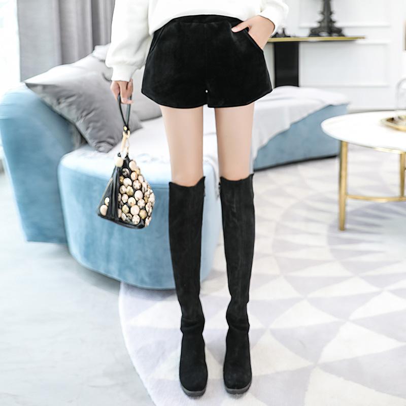 短裤女外穿新款韩版金丝绒高腰靴裤