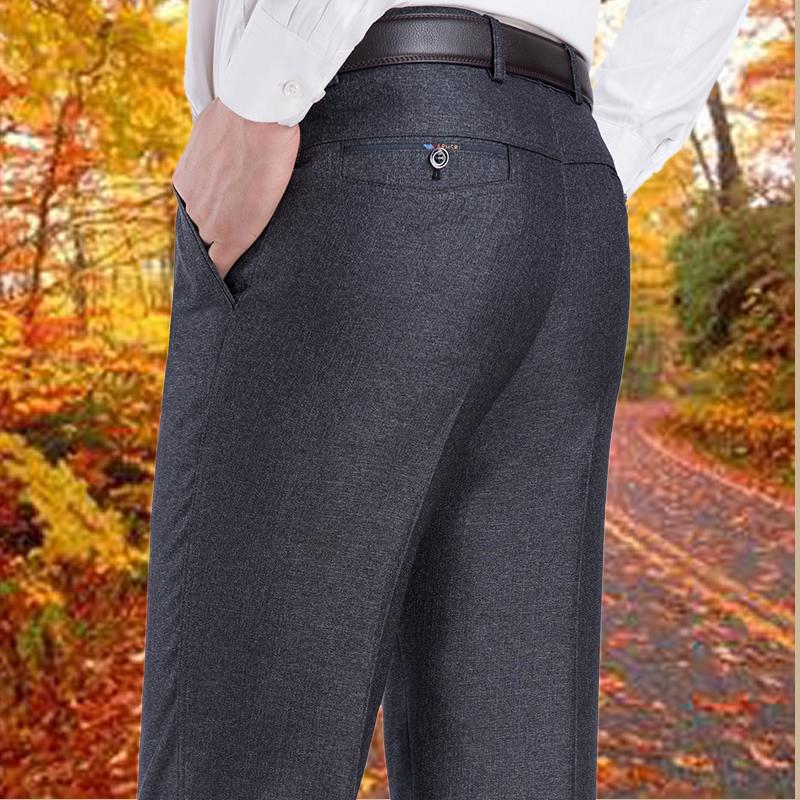 爸爸西裤子春秋夏季薄款中老年人男士休闲裤外穿宽松直筒中年男装
