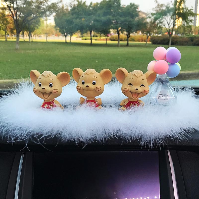 小老鼠摇头公仔汽车摆件车载创意网红抖音同款车内饰品男女小车上