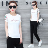 Summer 2020 new suit short-sleeved fashion casual nine-point pants loose Korean sports ladies loose two-piece suit