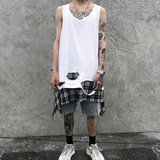 OVERSIZE loose high street tide brand solid color with long hem hole bottoming shirt sleeveless T-shirt vest BF