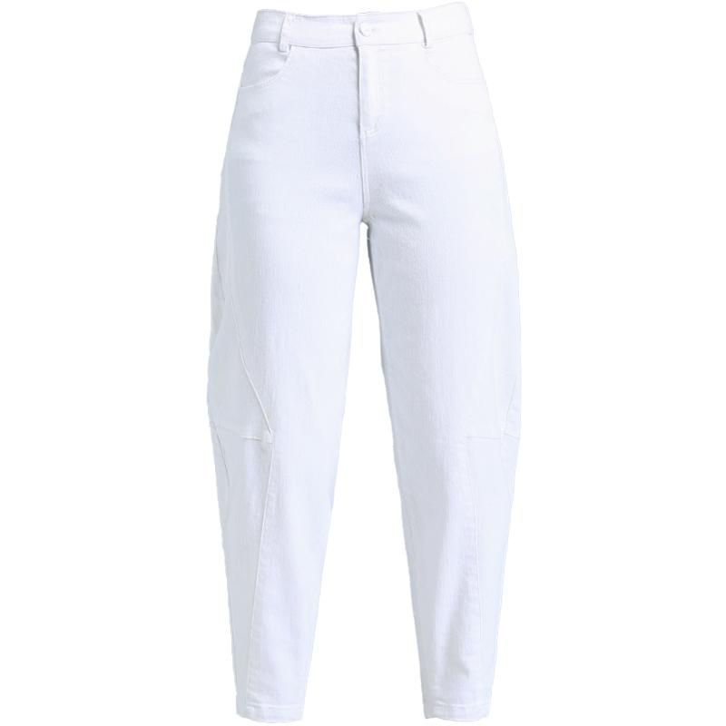 白色裤子牛仔裤女夏季薄款女裤宽松女士萝卜裤休闲哈伦裤女九分裤【图5】