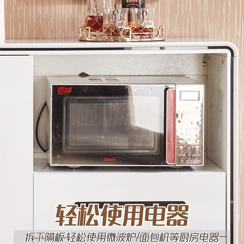 简约现代餐边柜餐厅酒柜茶水柜碗柜储物柜厨房柜子白色微波炉橱柜