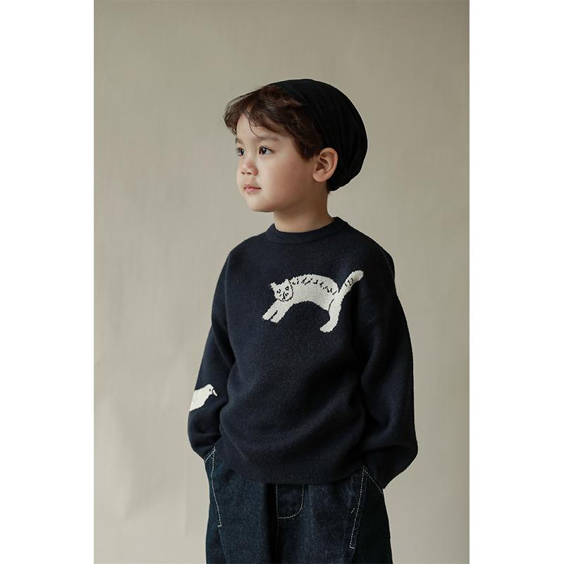 幼悠男童套头毛衣冬季新款儿童卡通洋气保暖上衣宝宝打底针织衫潮