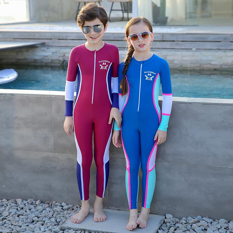男女儿童连体泳衣防晒速干中大童