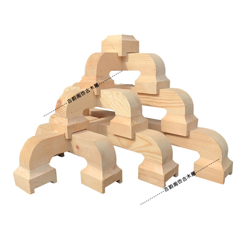 东阳木雕中式实木雕刻仿古复古装修斗拱建工程实木七踩平身科角腊