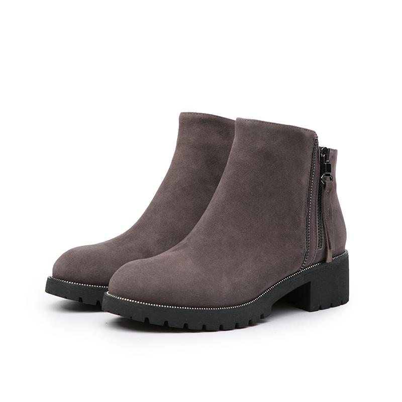 A8507605 千百度女鞋秋冬新款商场同款中跟女绒面短靴靴子