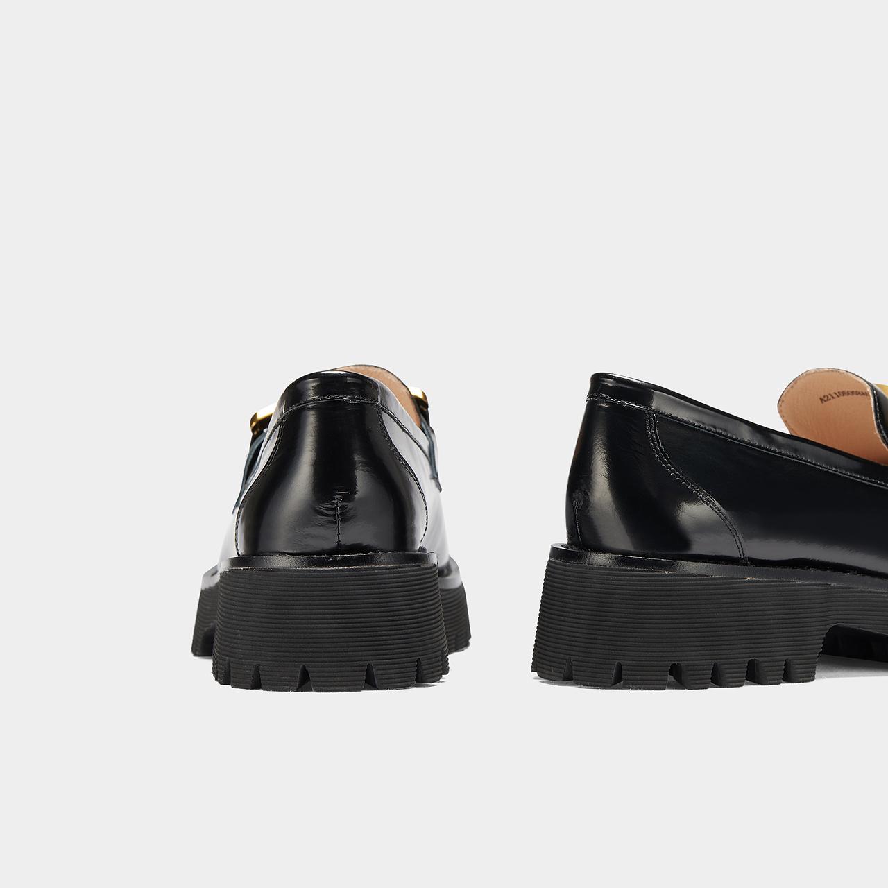 春夏新款深口鞋学院风英伦单鞋厚底乐福鞋女 2021 千百度女鞋小皮鞋