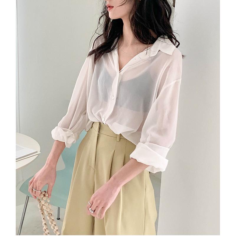 雪纺防晒衫女长袖薄款2021年新款复古港味披肩夏季外搭衬衫空调衣主图