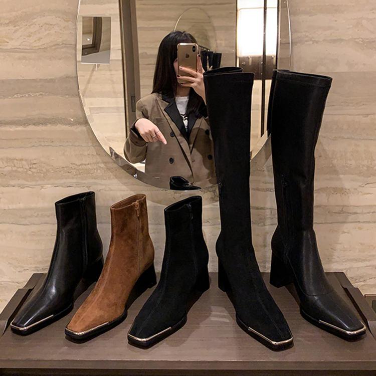 肯豆同款长筒靴女骑士靴粗跟高筒弹力瘦瘦靴短靴女 Faith 王小毒