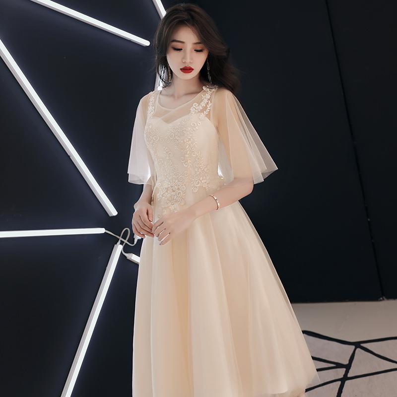 香槟色伴娘服2019新款夏季显瘦中长款高贵宴会晚礼服女聚会连衣裙