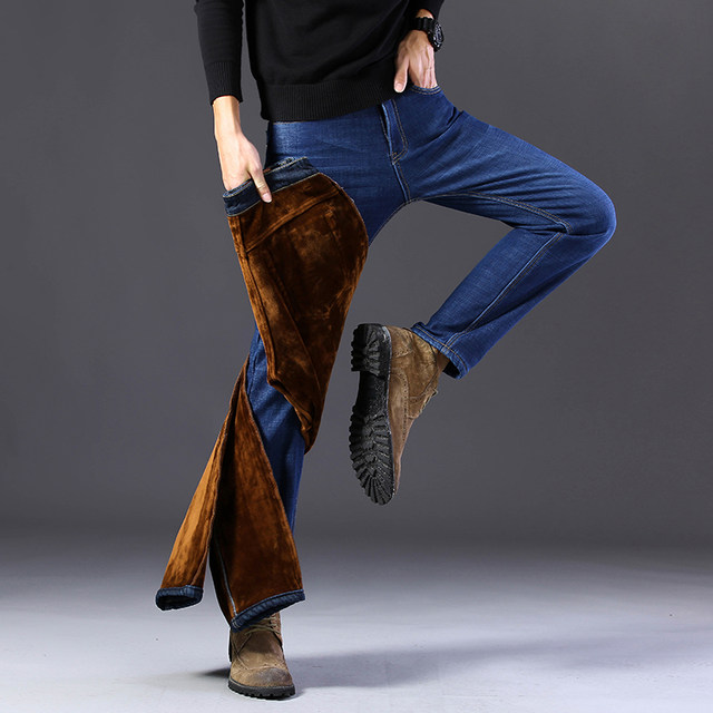Plus velvet thick jeans men's fall/winter new stretch straight loose loose business casual warm denim trousers men