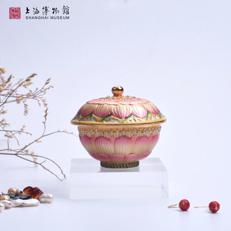 粉彩莲花纹盖碗创意摆件生日情人节生日礼物 珠宝盒 上海博物馆
