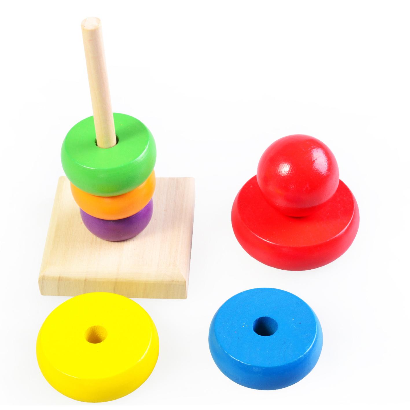 木制彩虹塔叠叠圈乐早教益智认知宝宝婴幼儿童玩具套塔积木配对