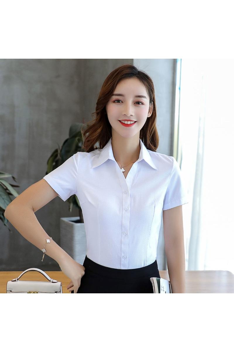 夏季V领职业衬衫女装正装短袖衬衫工装女韩版白领工作服白衬衣主图