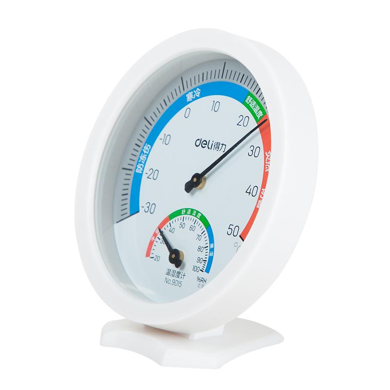 得力温湿度计测温计办公家用室内外婴儿房台式壁挂式温度表9016