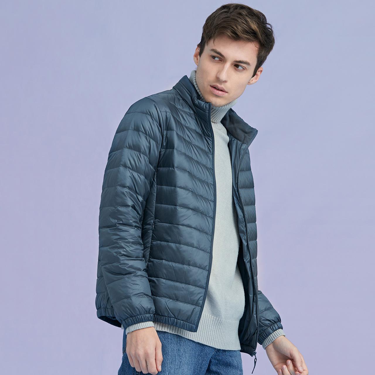 雪中飞2020春季男装轻薄羽绒服男短款立领修身大码休闲外套潮