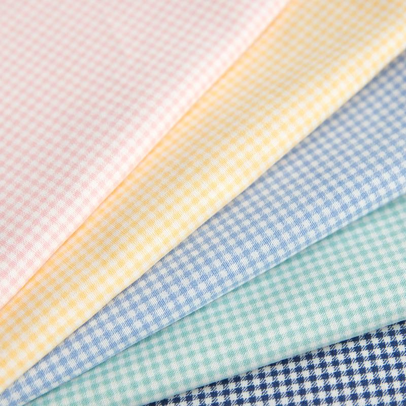 日本进口纯棉柔软细格子平纹棉布儿童衬衣连衣裙内衬高档手工面料