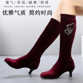 水兵舞靴子广场舞女靴中跟黑色舞蹈鞋秋季高筒靴高跟长筒靴跳舞鞋