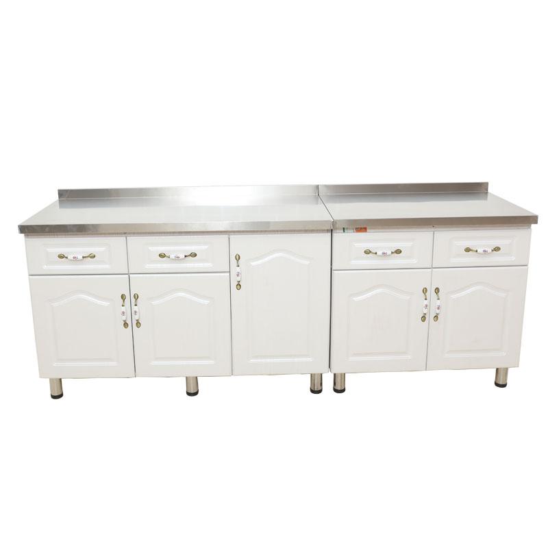 组合实木橱柜厨房灶台柜子家用组装定做整体厨柜不锈钢水槽台面柜