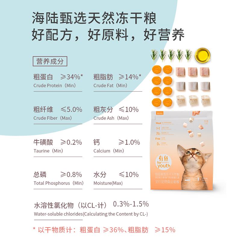 有鱼猫粮海陆天然冻干无谷成猫幼猫全阶段增肥发腮鸡鱼肉双拼2kg优惠券