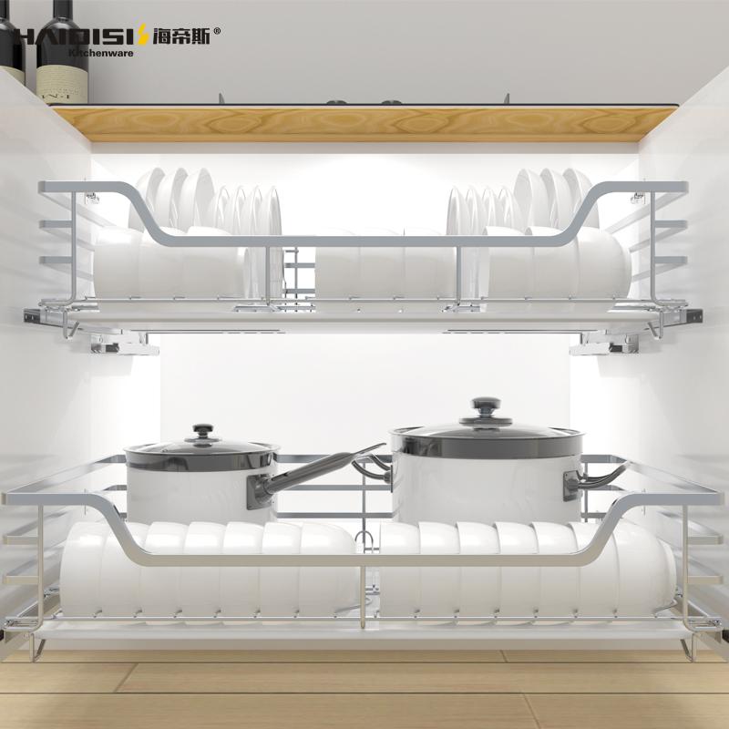 碗柜碗篮碗架 304 海帝斯厨房橱柜拉篮双层缓冲抽屉式碗碟篮不锈钢