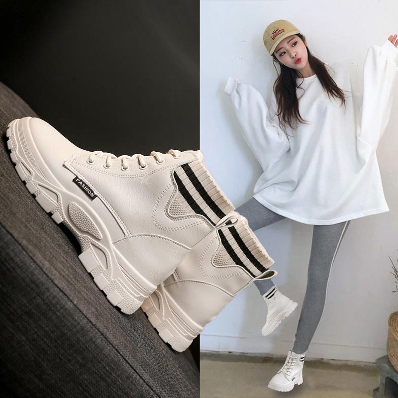 马丁靴女 秋冬新款棉靴英伦风学生韩版百搭短靴加绒切尔西靴子  2019