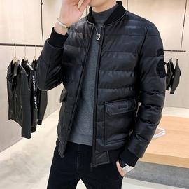 加厚PU棉衣男冬季新款男装羽绒棉服冬装青年商务外套短款黑色棉袄