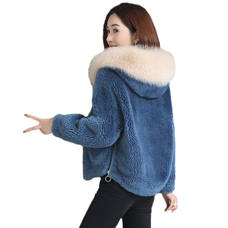 皮草短款羊剪绒外套女羊羔毛连帽上衣仿狐狸毛领颗粒羊绒大衣冬装