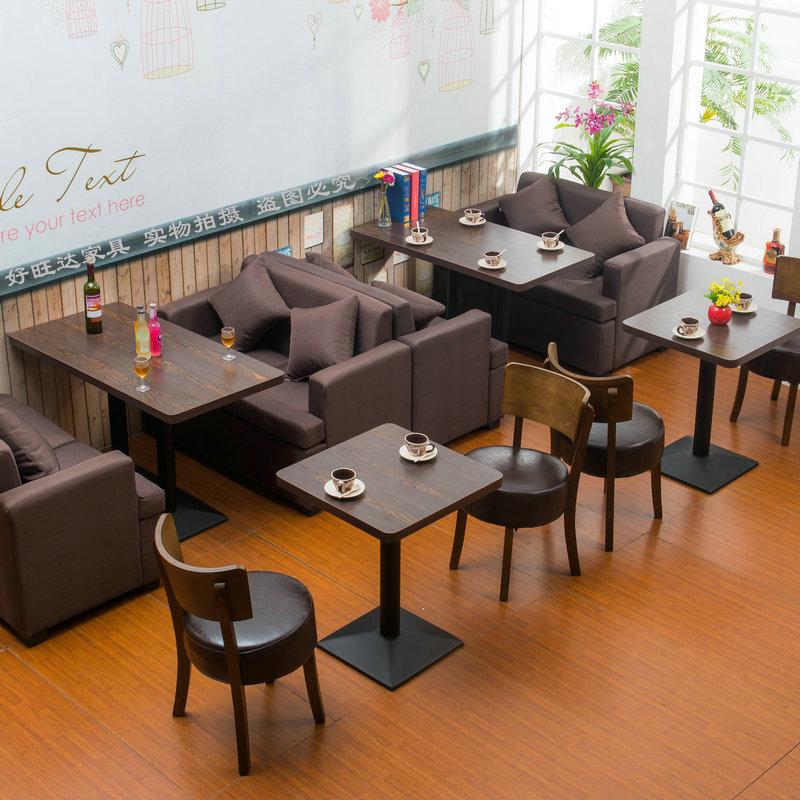 休闲复古咖啡厅西餐厅洽谈沙发桌椅茶餐厅奶茶店卡座沙发餐桌组合