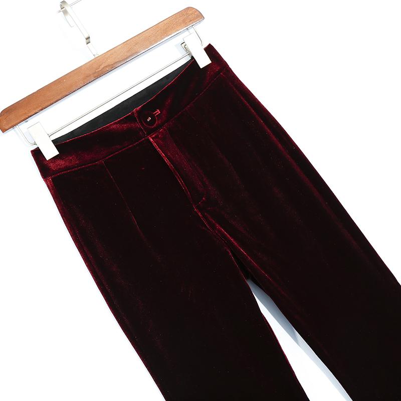 精品金丝绒长裤直筒裤春秋季裤子女式西裤垂感显瘦丝绒小阔腿裤