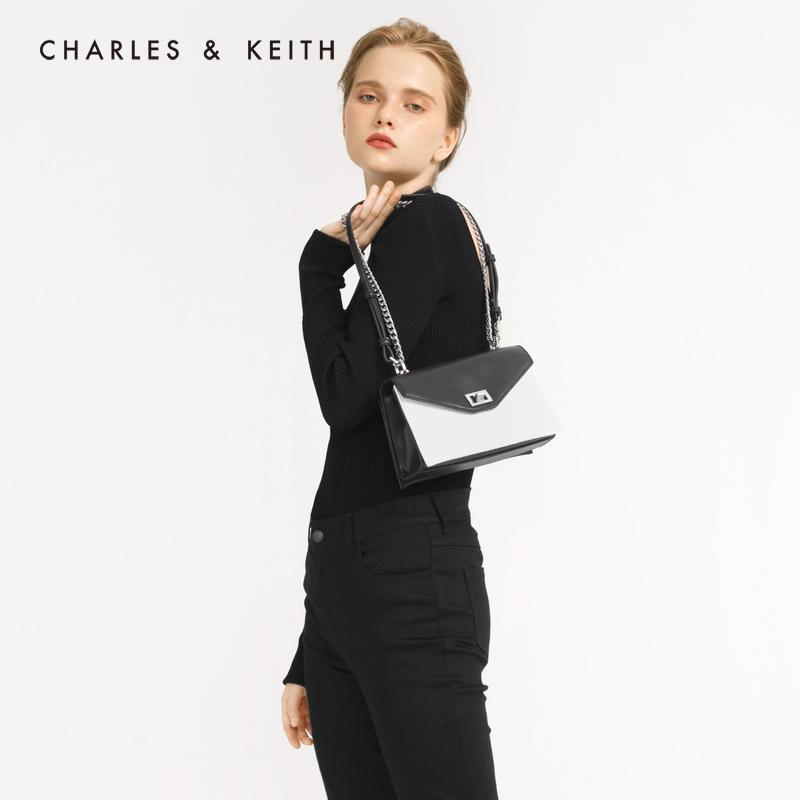 金属扣饰女士翻盖单肩包 80270412 CK2 秋季新品 KEITH2019 & CHARLES