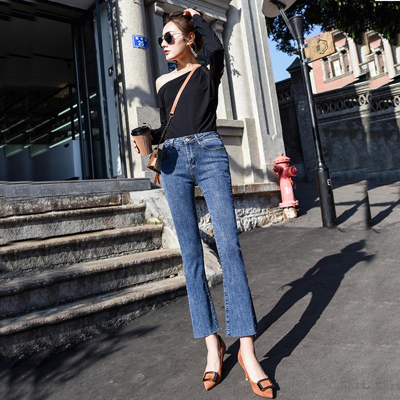新款春季高弹喇叭裤子女牛仔裤女韩版高腰显瘦修身微喇九分裤子女