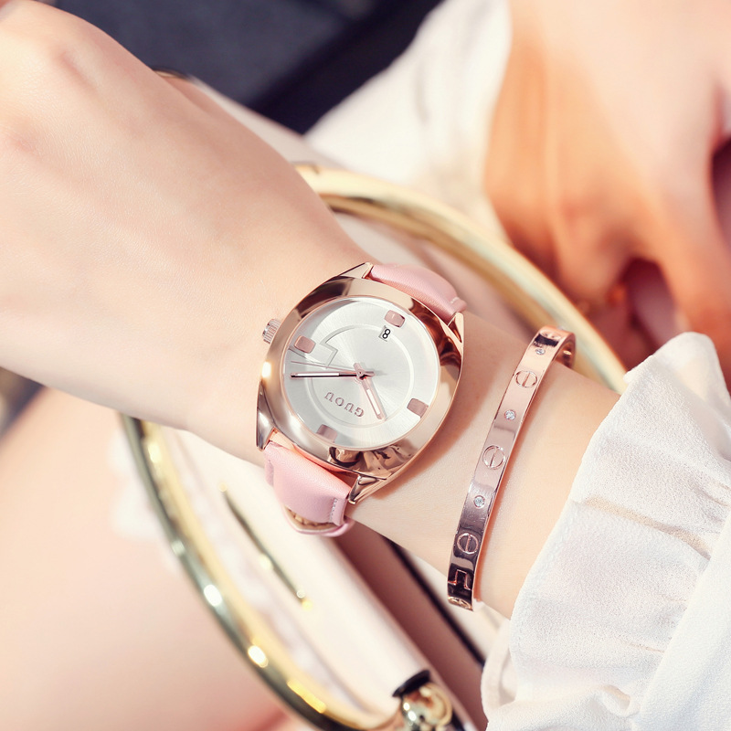 月上新国产腕表 古欧腕表气质石英表盘皮带潮流简约女士手表  GUOU 6