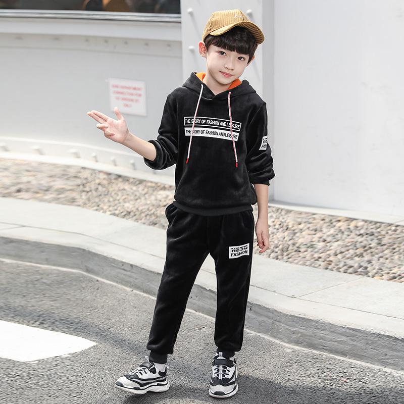 男童套装冬装2019新款装韩版洋气金丝绒加绒潮卫衣儿童两件套秋冬