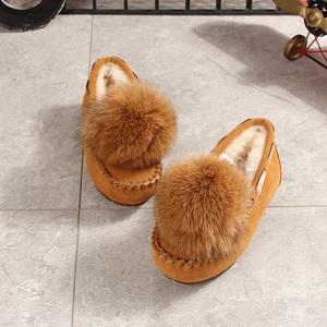儿童真皮加绒雪地靴母女软底棉鞋