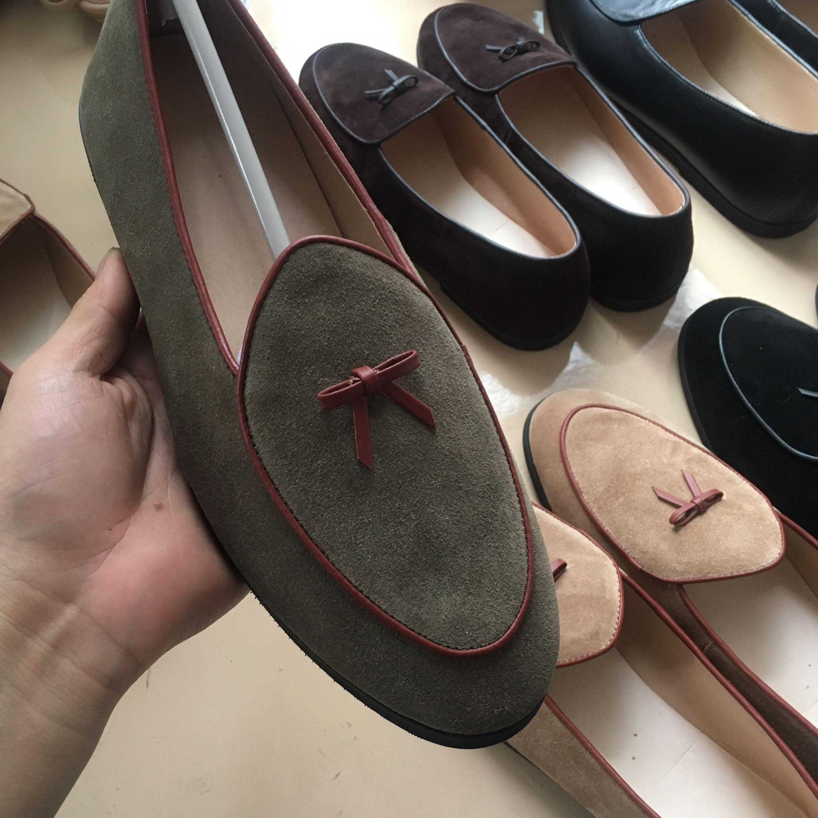 男士蝴蝶结百搭套脚反绒牛皮一脚蹬皮鞋 英伦风乐福鞋 2018 休闲鞋