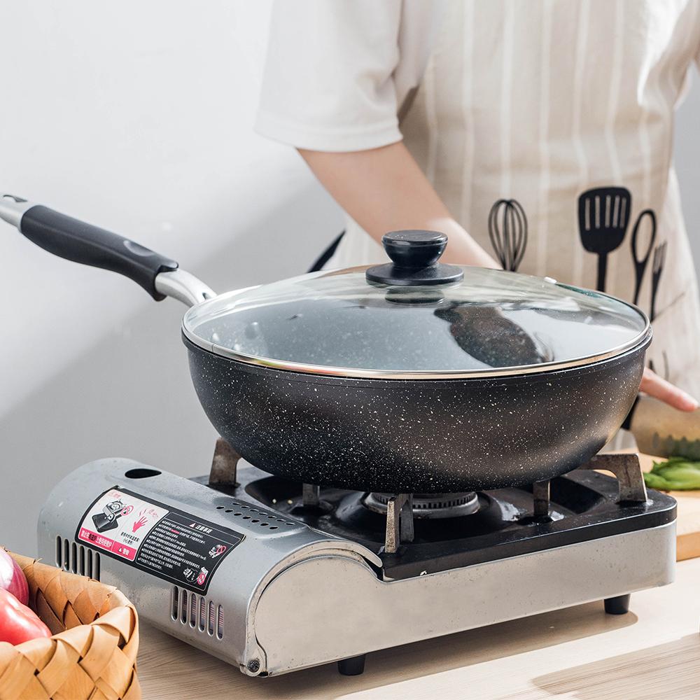 摩登主妇 日式麦饭石不粘锅炒菜炒锅无烟电磁炉家用燃气灶适用锅