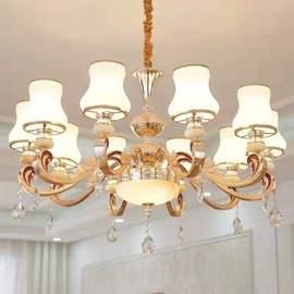 欧式客厅吊灯简约现代锌合金大气家用餐厅卧室玉石水晶吊灯