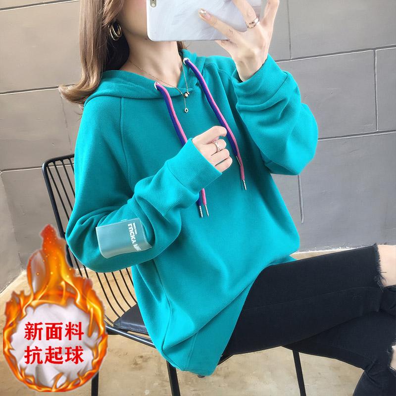 牛油果绿卫衣2020新款女网红 韩版时尚上衣连帽加绒加厚潮外套