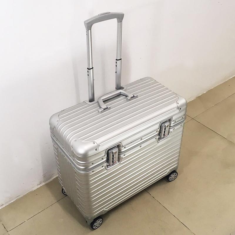 全铝镁合金摄影拉杆箱上开盖行李箱密码登机箱短途旅行箱小型女男