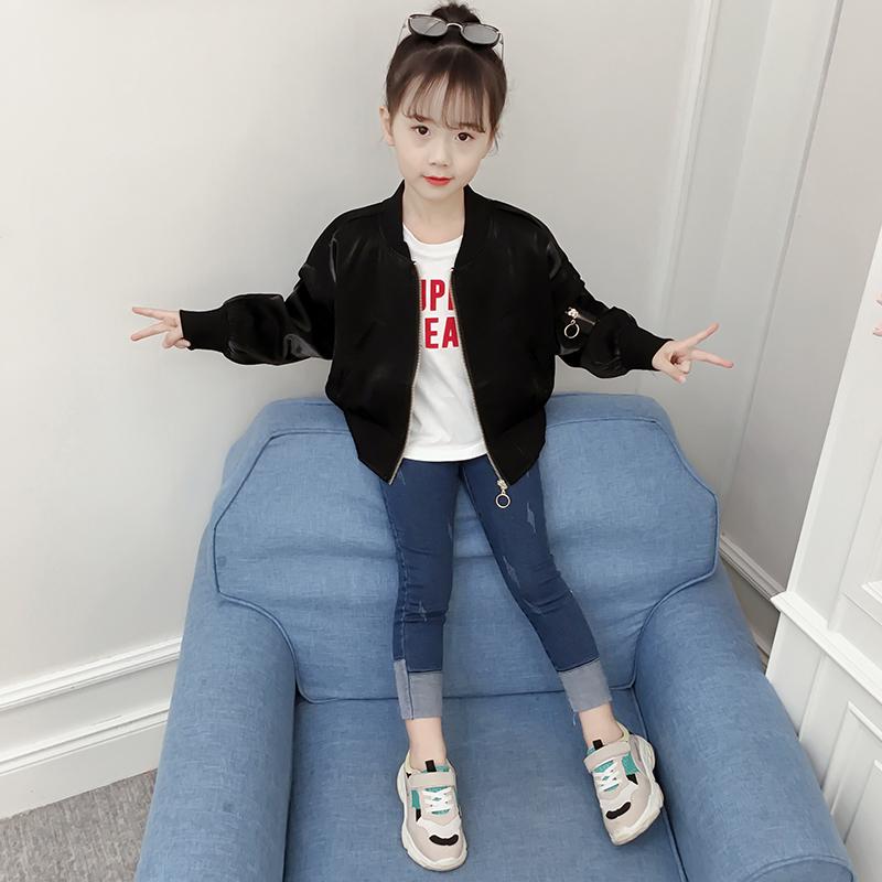 女童外套春款2019新款韩版洋气女孩上衣夹克潮童装秋装儿童棒球服