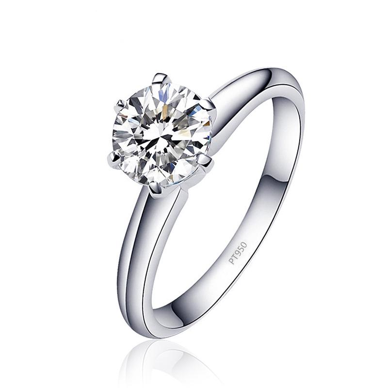 克拉婚戒礼物 123 铂金莫桑石戒指六爪白金求结婚女款仿真钻石 PT950