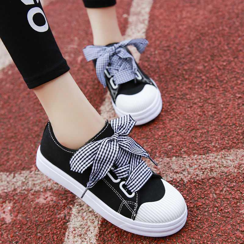 休闲板鞋 16 平底 11 中小学生 10 女大童韩版 2019 少女生帆布鞋夏季新款